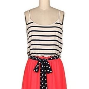 Large Modcloth Dress Stripe & Coral Dress